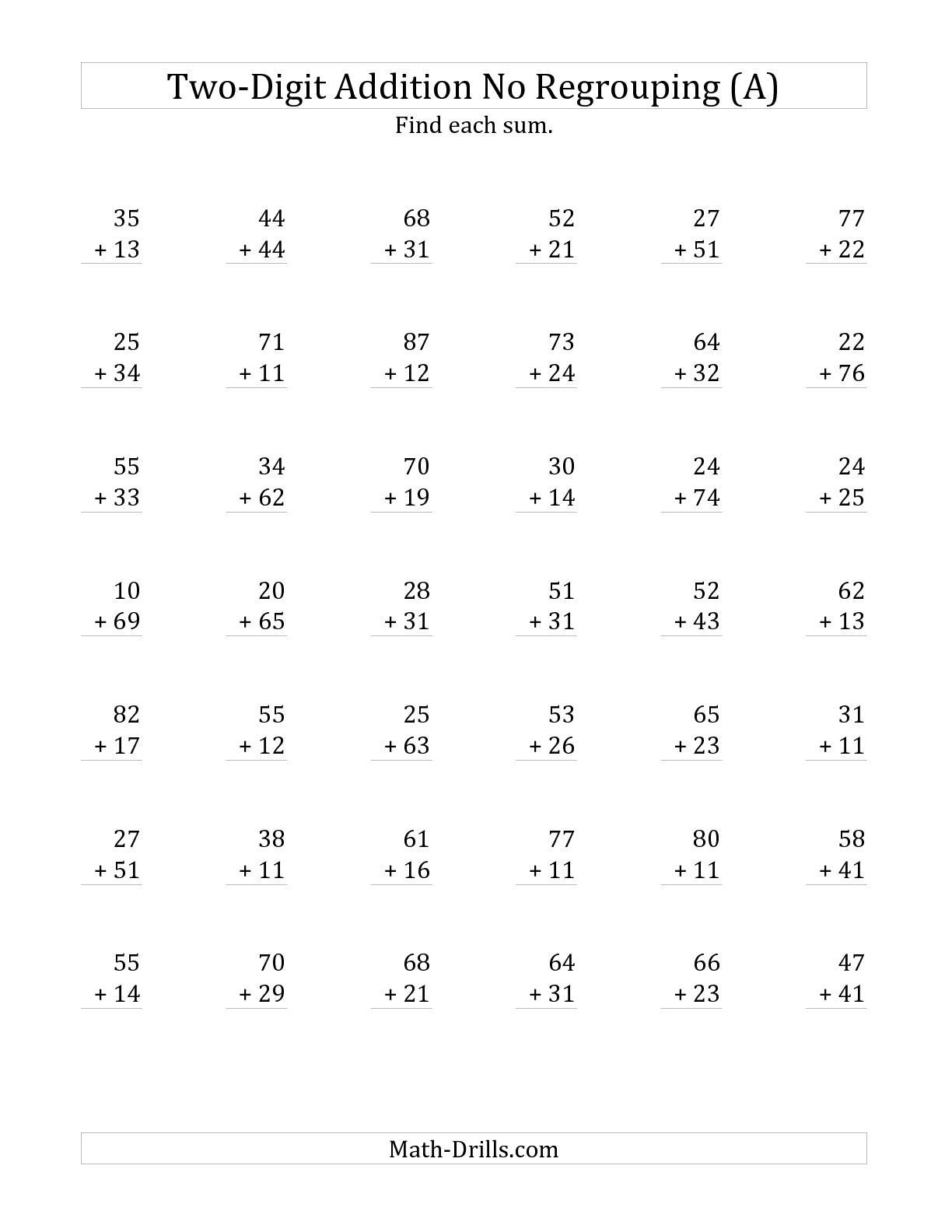 The 2-Digit Addition With No Regrouping (A) Math Worksheet From The | Printable 2 Digit Addition Worksheets