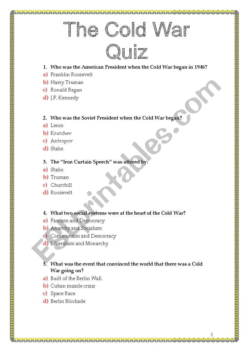 The Cold War Quiz - Esl Worksheetsviviana | Cold War Printable Worksheets