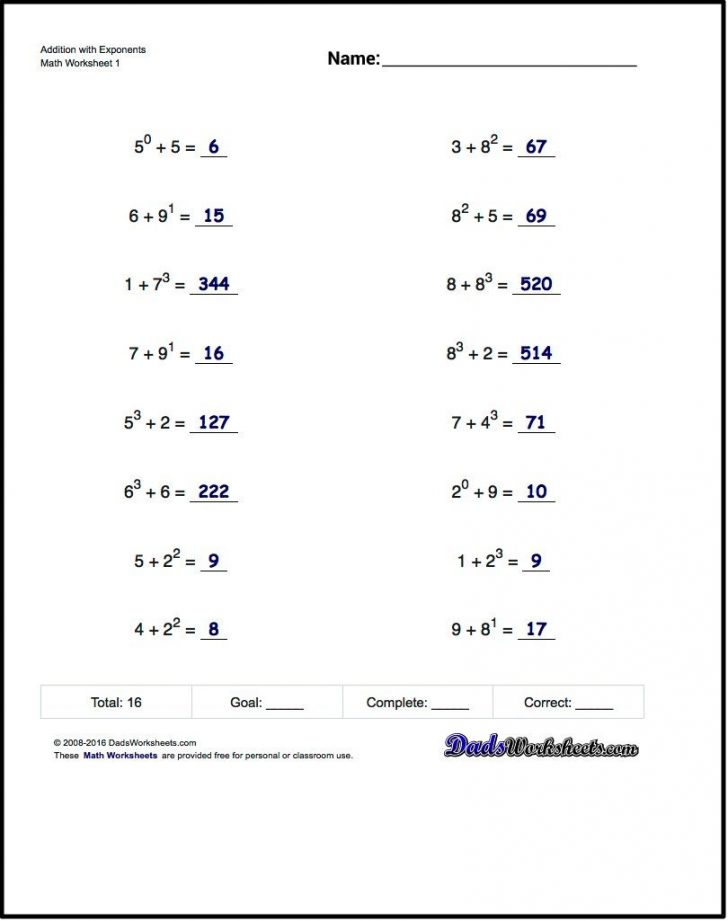 Free Printable Exponent Worksheets