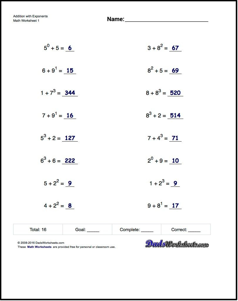 The Exponents Worksheets In This Section Provide Practice That | Free Printable Exponent Worksheets