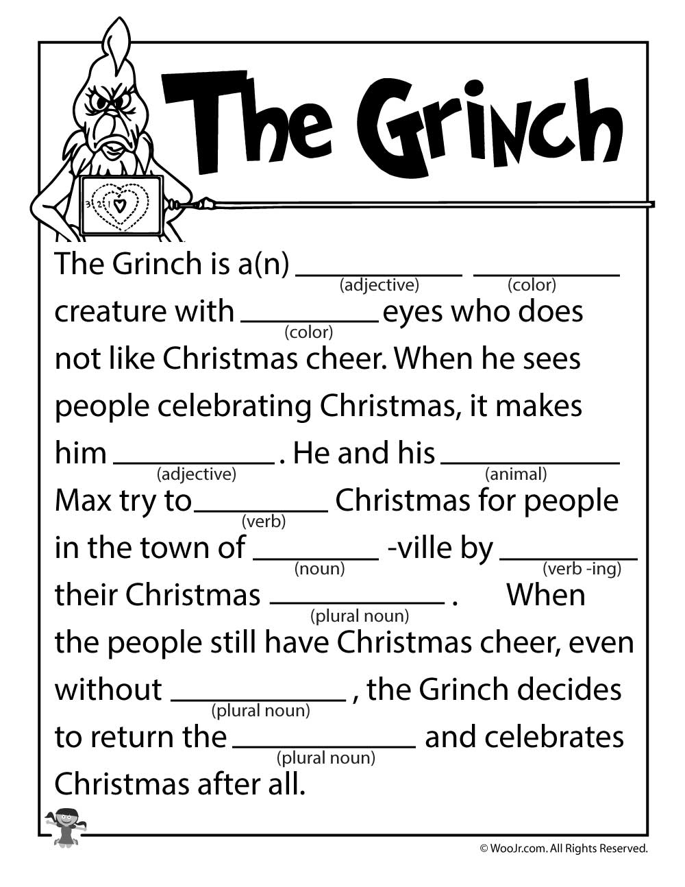 The Grinch Mad Lib | Woo! Jr. Kids Activities | Free Printable Grinch Worksheets