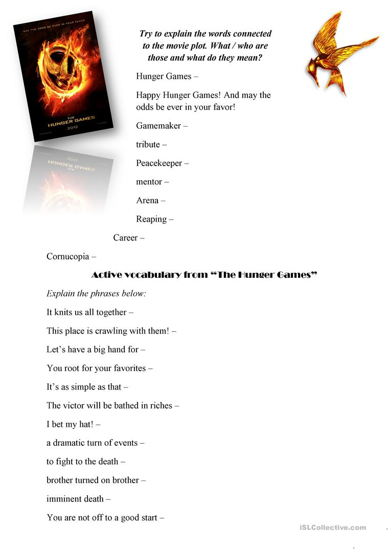 The Hunger Games (Movie Worksheet) Worksheet - Free Esl Printable | Hunger Games Free Printable Worksheets