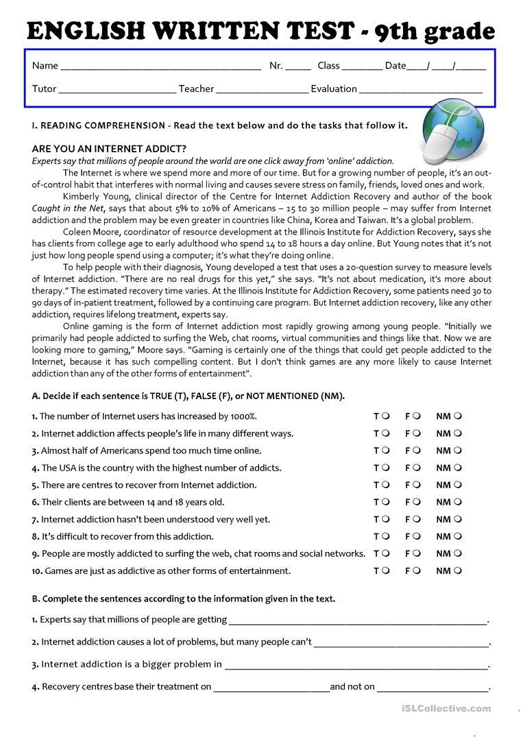 The Internet (Test 9Th Grade - A2/b1) Worksheet - Free Esl Printable | 9Th Grade English Worksheets Free Printable