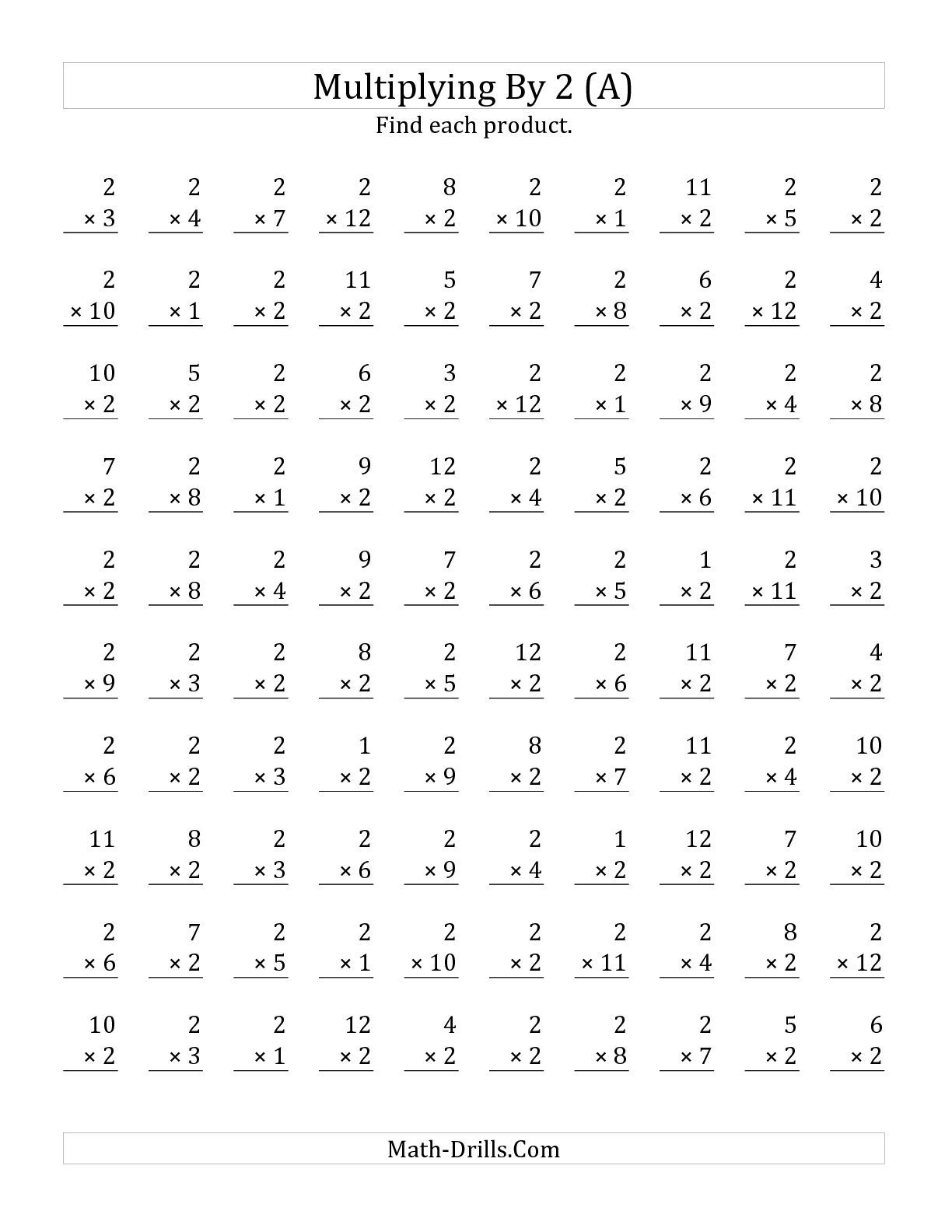 The Multiplying 1 To 122 (A) Math Worksheet From The | Basic Multiplication Printable Worksheets