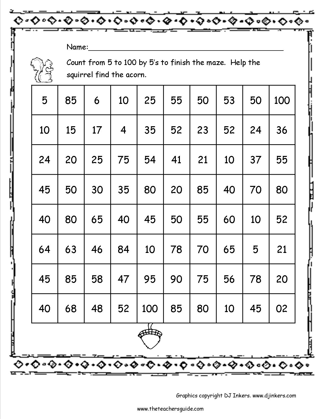 The Teacher's Guide 100Th Day Of School Theme Page   Printable 100 Day Worksheets