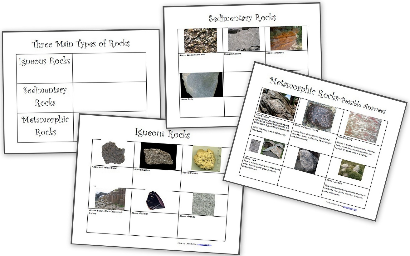 The Three Types Of Rocks- Our Activities And A Free Worksheet Packet | Rock Cycle Worksheets Free Printable