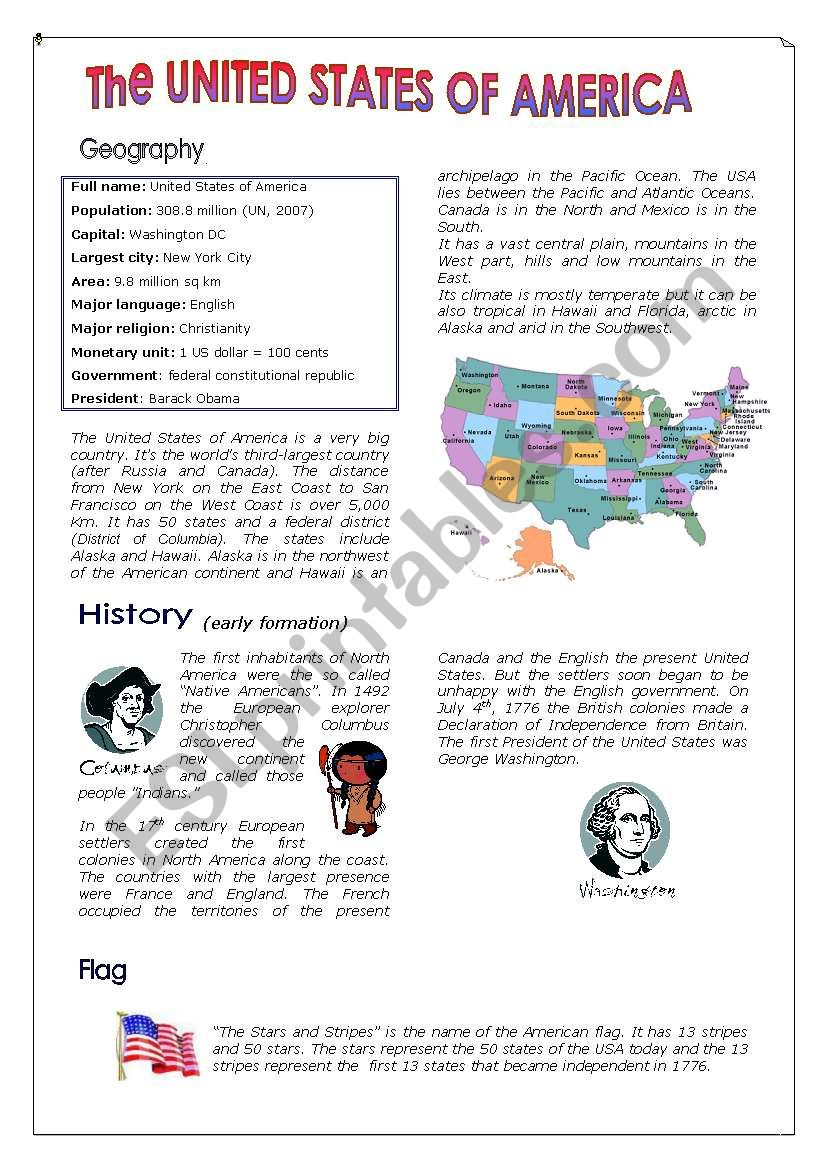 The United States Of America - Esl Worksheetanneclaire | Usa Worksheets Printables