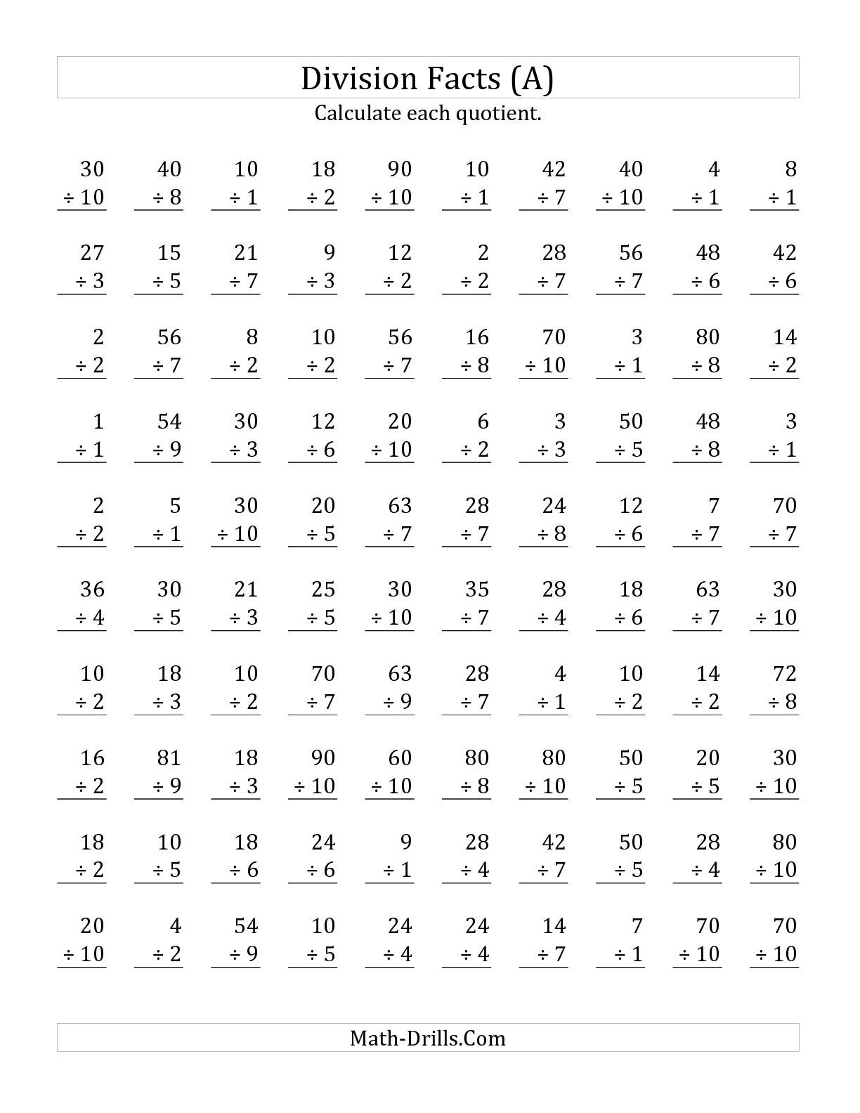 The Vertically Arranged Division Facts To 100 (A) Math Worksheet | Printable Division Facts Worksheets
