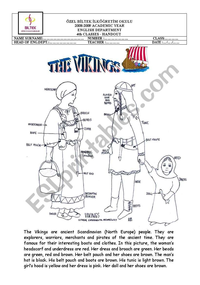 The Vikings - Esl Worksheetinciska | Viking Worksheets Printable