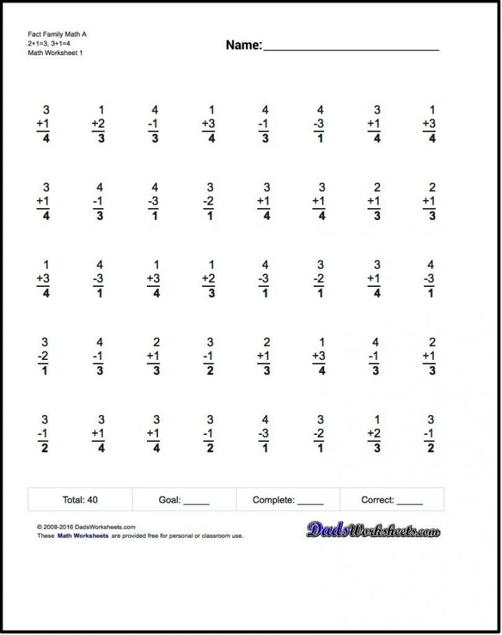 Timed Math Facts Worksheets Printable