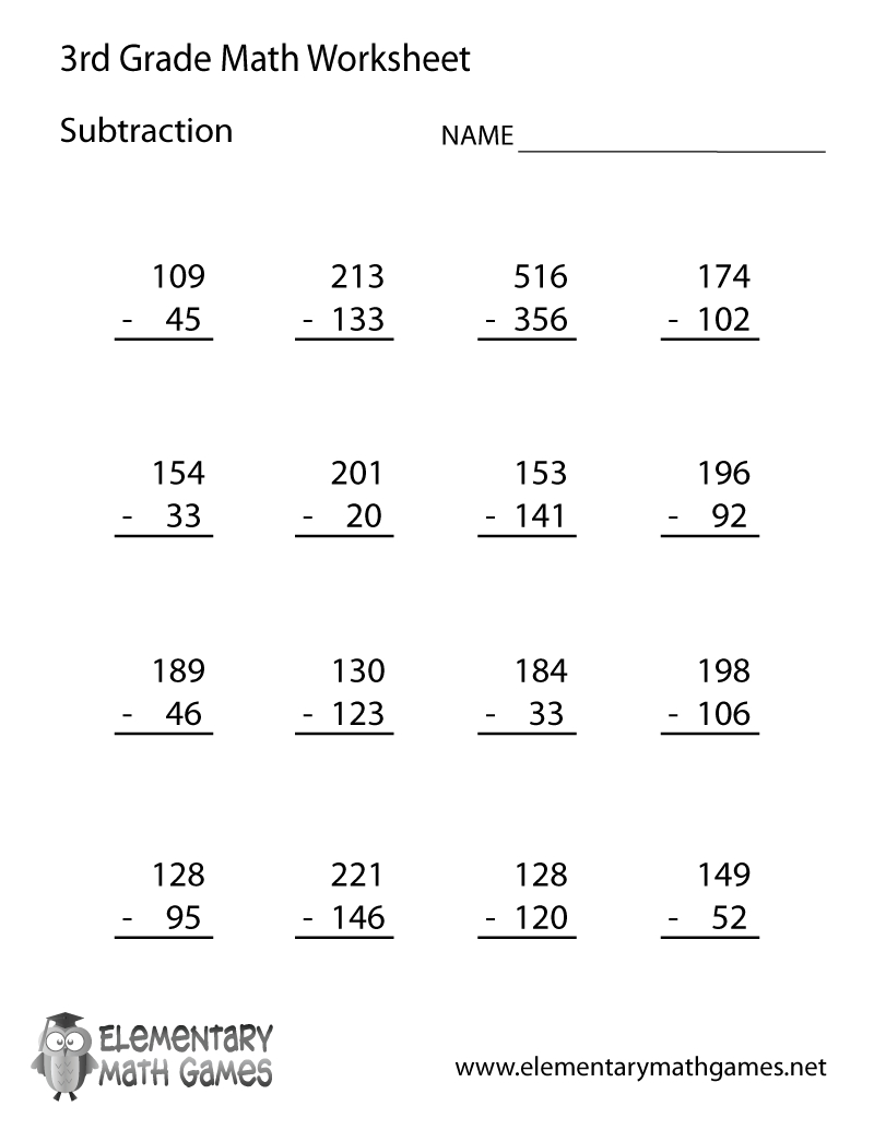 Third Grade Subtraction Worksheet Printable | Education | 3Rd Grade | 3Rd Grade Math Subtraction Printable Worksheets