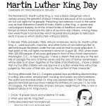This Free Worksheet About Martin Luther King Day Covers The Basic | Martin Luther King Free Printables Worksheets