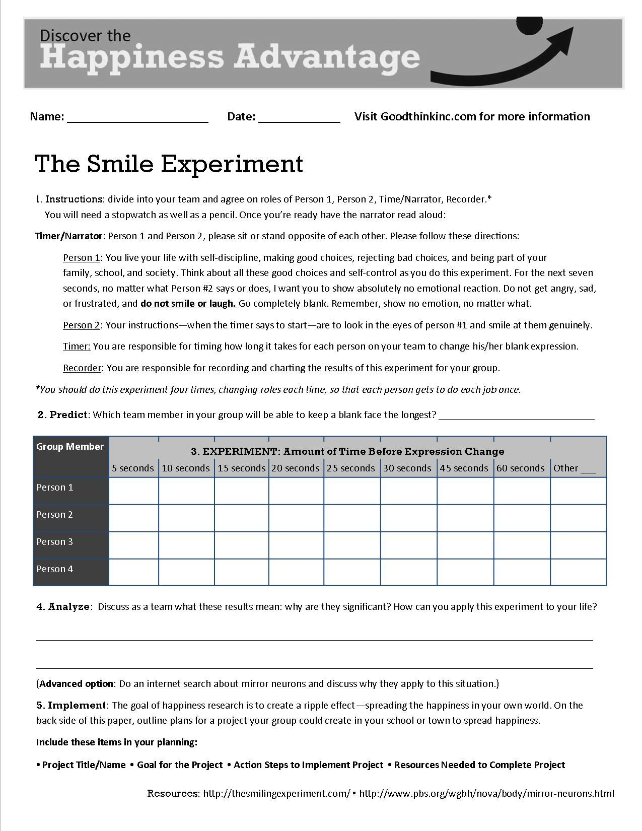 This Is Goodthink's Smile Experiment Worksheet That Turns Our Smile | Printable Mental Health Worksheets For Adults