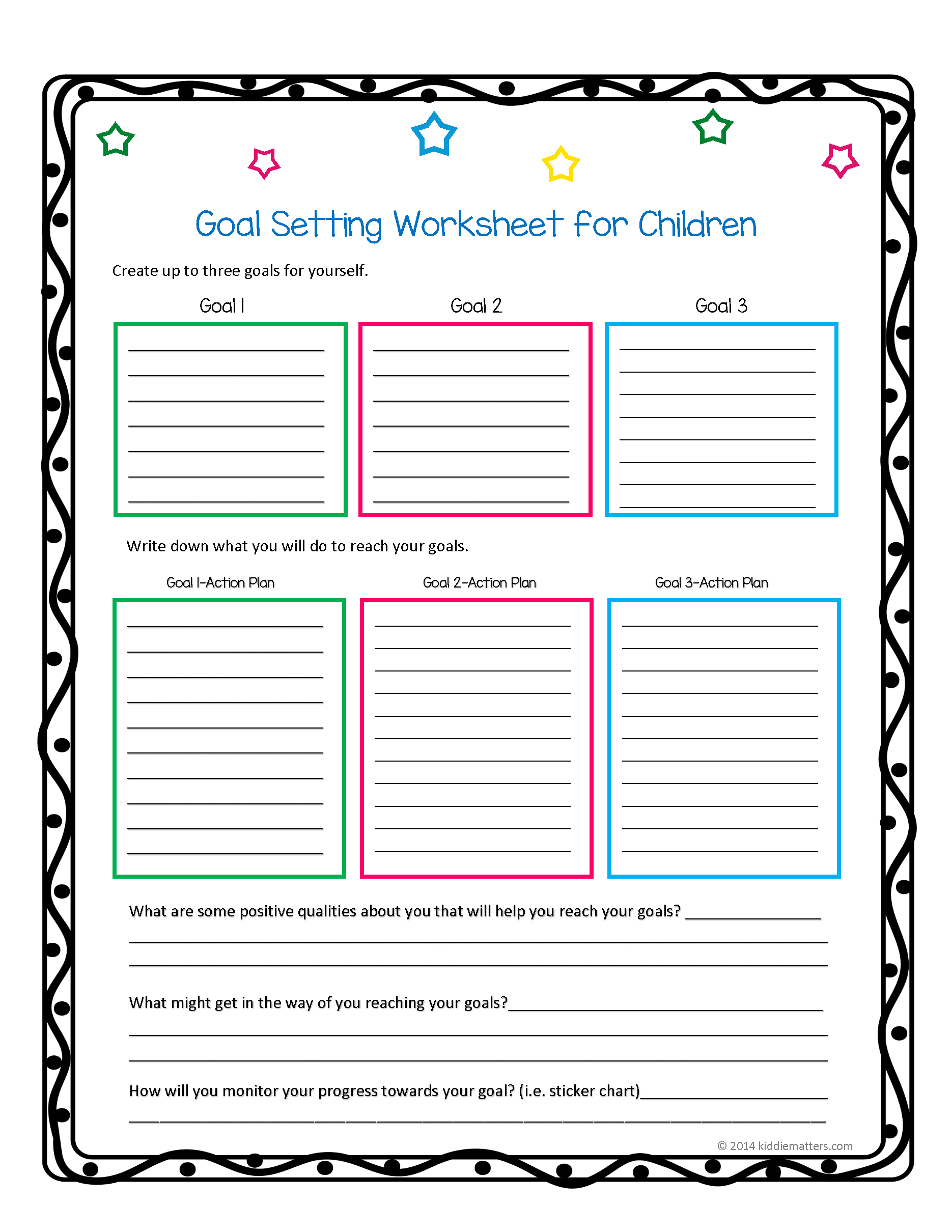 This Worksheet And Free Printable Helps Children Learn How To Set | Free Printable Goal Setting Worksheets For Students