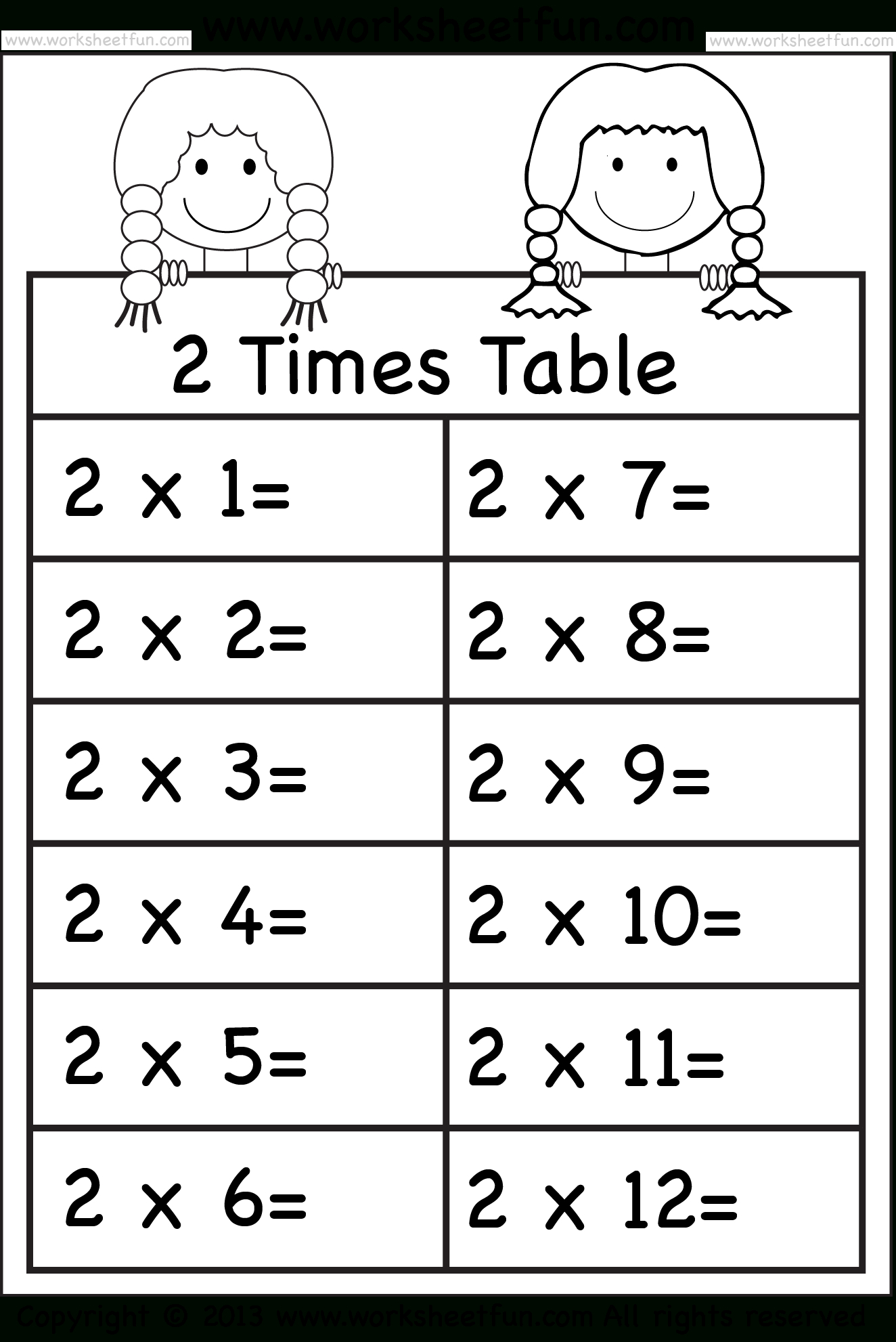 Times Tables Worksheets – 2, 3, 4, 5, 6, 7, 8, 9, 10, 11 And 12   5 Times Table Worksheet Printable