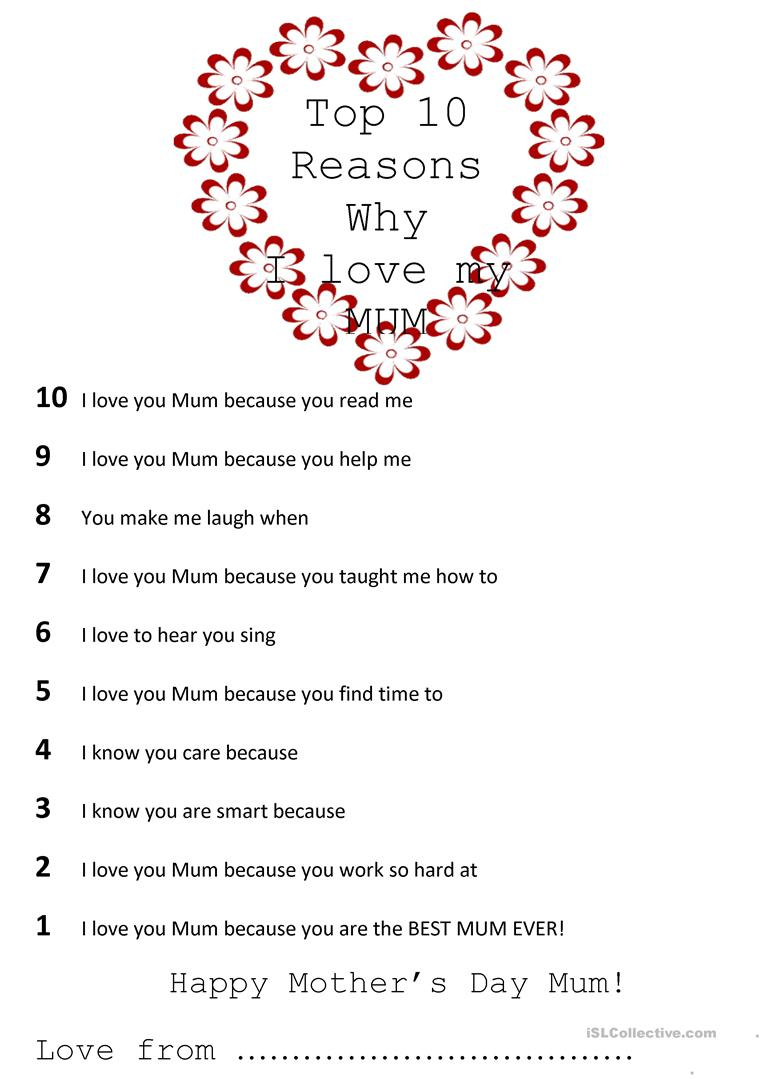 Top 10 Reasons Why I Love My Mom Worksheet - Free Esl Printable | Are You My Mother Printable Worksheets