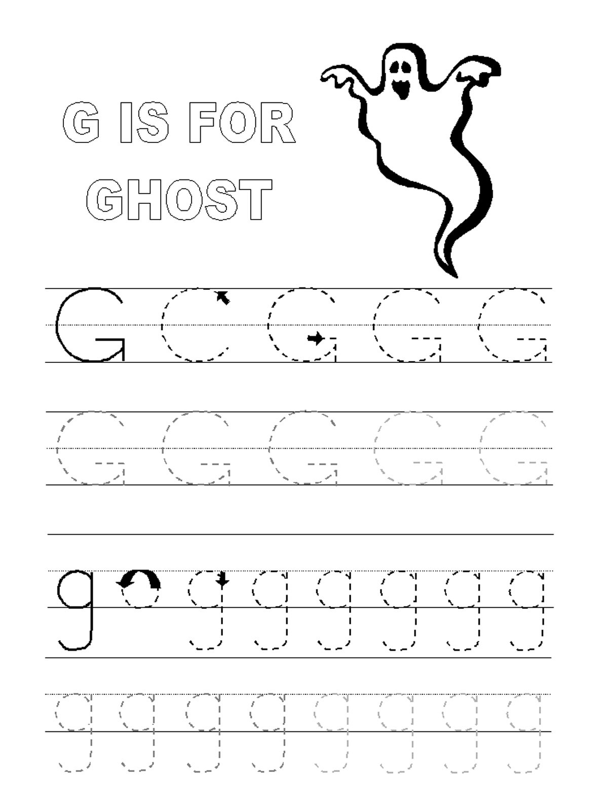 Trace Letter G Worksheets | Activity Shelter | Letter G Printable Worksheets