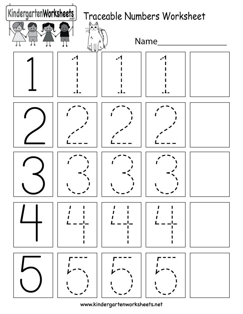 Traceable Numbers Worksheet - Free Kindergarten Math Worksheet For Kids | Numbers Printable Worksheets