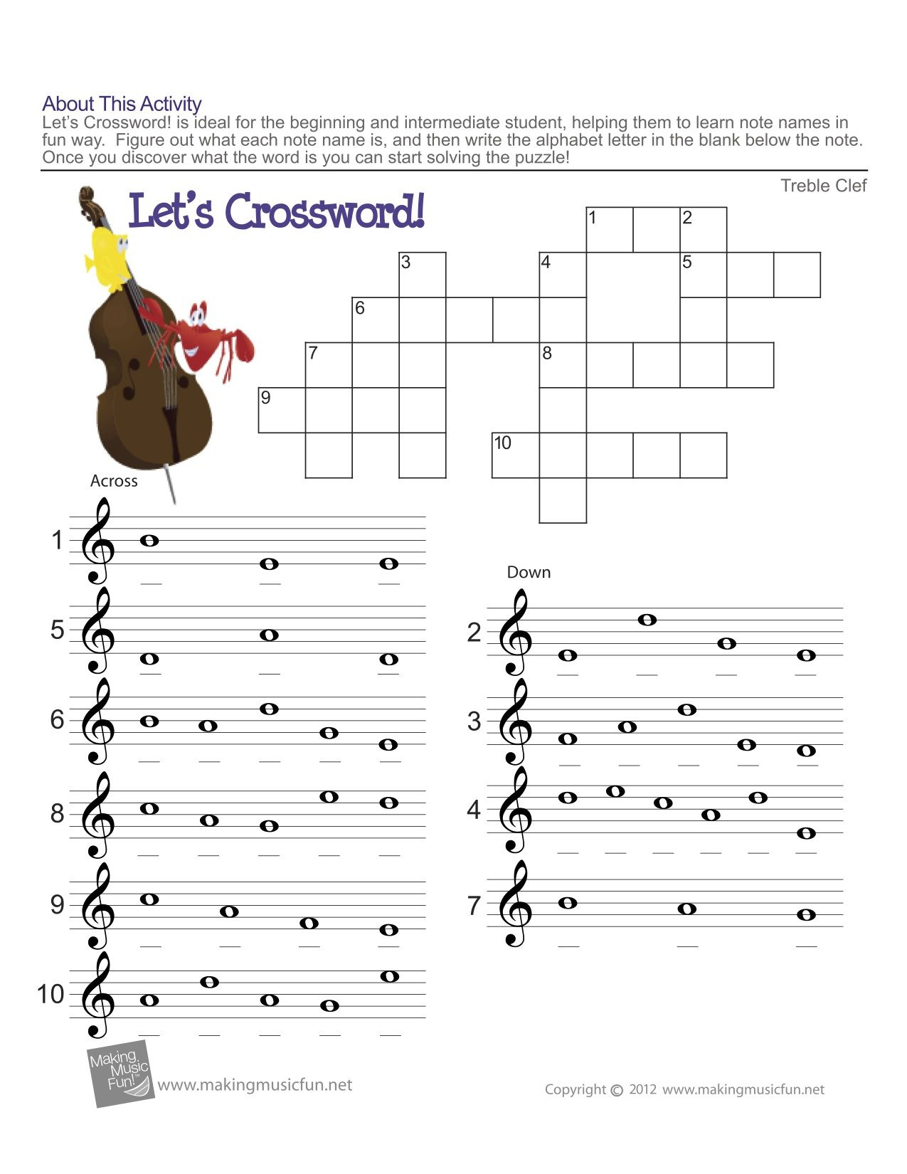 Treble Clef Fun Note Reading! | Easy Music Theory For Middle School | Reading Music Worksheets Printable