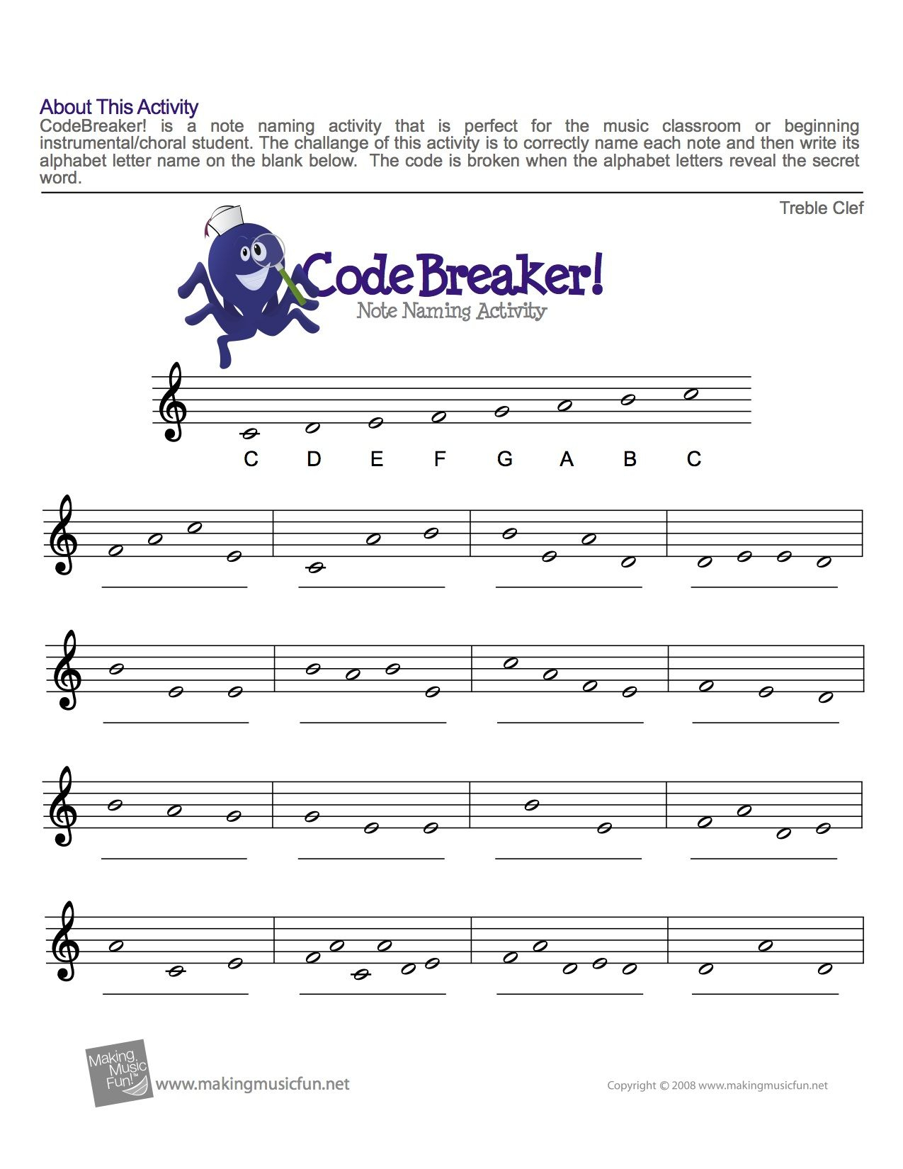 Treble Clef Fun Note Reading | Easy Music Theory For Middle School | Reading Music Worksheets Printable