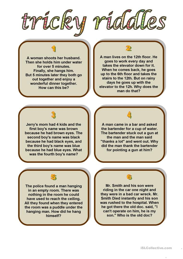 Tricky Riddles Worksheet - Free Esl Printable Worksheets Made | Riddles Worksheets Printable