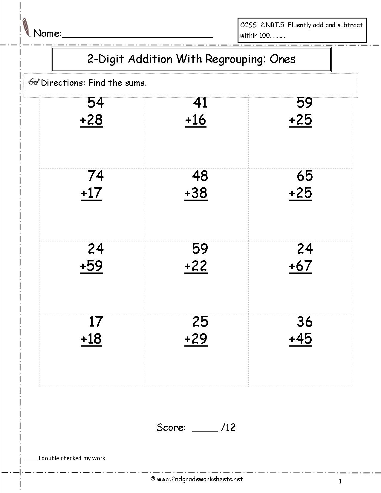 Two Digit Addition Worksheets - Free Printable Two Digit Addition | Free Printable Two Digit Addition Worksheets