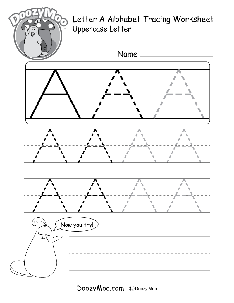 Uppercase Letter Tracing Worksheets (Free Printables) - Doozy Moo | Free Printable Write Your Name Worksheets