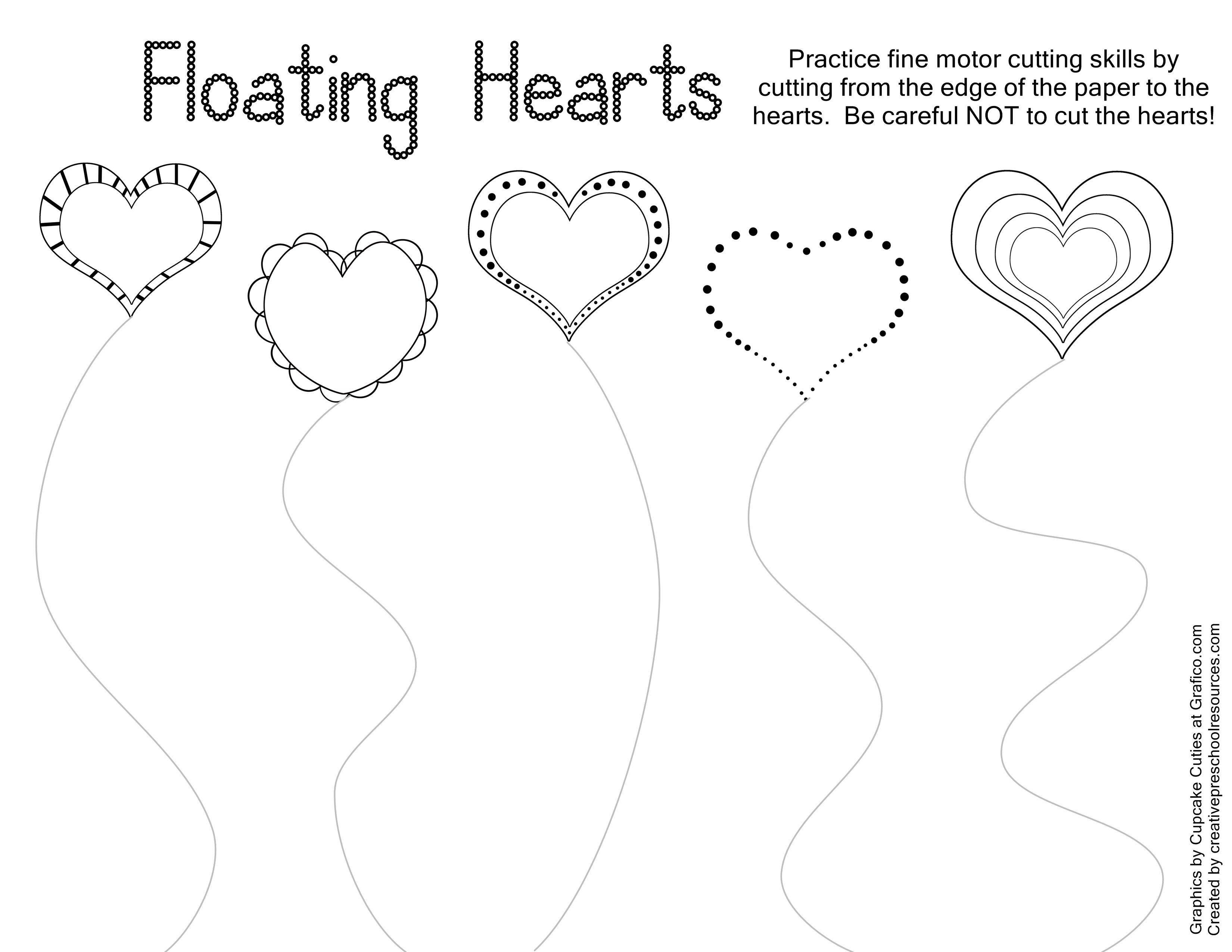 Valentine Trace & Cut Printables | Kids Stuffs | Pinterest | Cutting | Free Printable Cutting Worksheets For Kindergarten