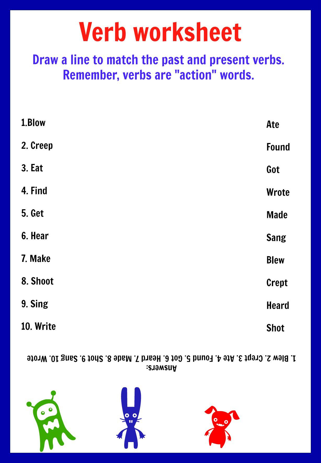 Verbs - Printable - Worksheets | Verb To Be Worksheets Printable