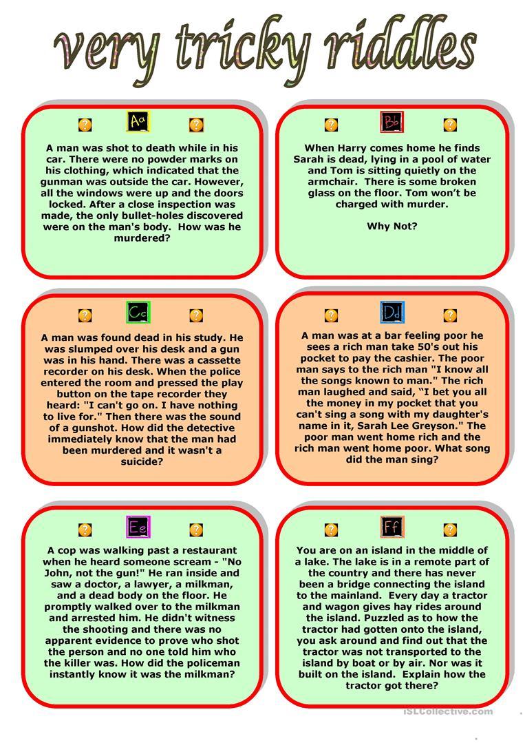 Very Tricky Riddles Worksheet - Free Esl Printable Worksheets Made | Riddles Worksheets Printable