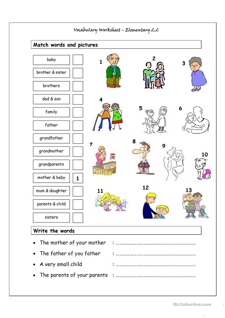 Vocabulary Matching Worksheet - Elementary 2.2 (Family) Worksheet | Family Printable Worksheets