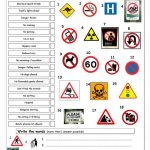 Vocabulary Matching Worksheet   Signs Worksheet   Free Esl Printable | Free Printable Traffic Signs Worksheets