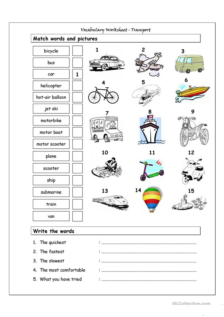 Vocabulary Matching Worksheet - Transport Worksheet - Free Esl | Free Printable Transportation Worksheets For Kids