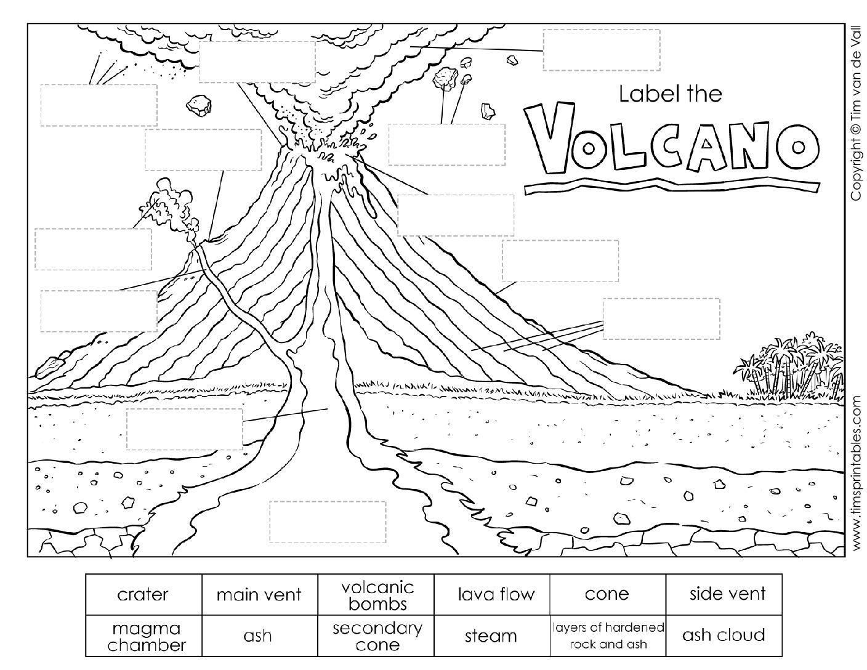 Volcano Parts Worksheet For Kids - Tim's Printables   Printable Volcano Worksheets