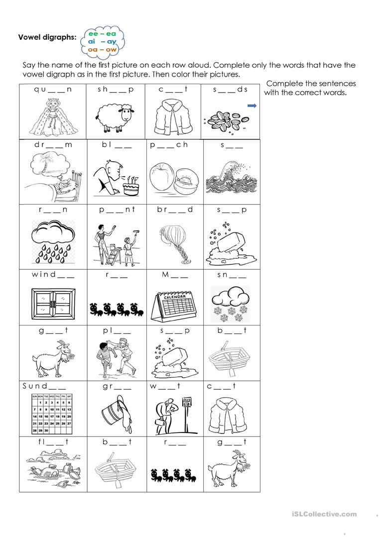 Vowel Digraphs Ee-Ea / Ai-Ay/ Oa-Ow Worksheet - Free Esl Printable | Digraphs Worksheets Free Printables