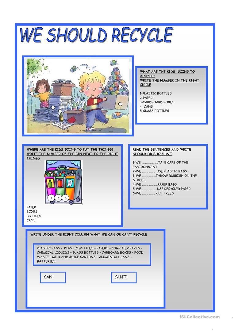 We Should Recycle Worksheet - Free Esl Printable Worksheets Made | Free Printable Recycling Worksheets