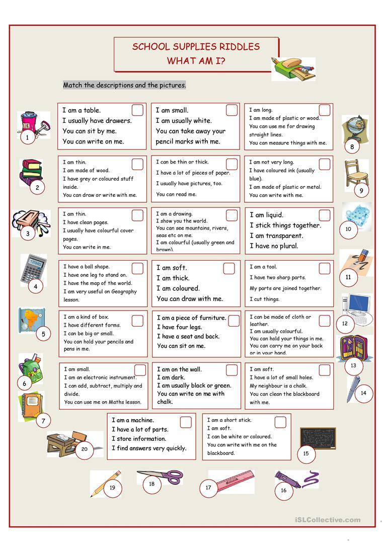 What Am I? (School Supplies Riddles) Worksheet - Free Esl Printable | Riddles Worksheets Printable