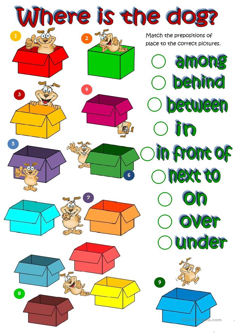 Where's The Dog - Prepositions Of Place Worksheet - Free Esl | Free Printable Worksheets For Prepositions