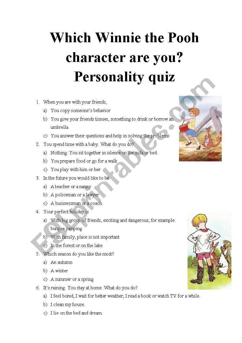 Which Winnie The Pooh Character Are You? Personality Quiz Part 3   Personality Quiz Printable Worksheet