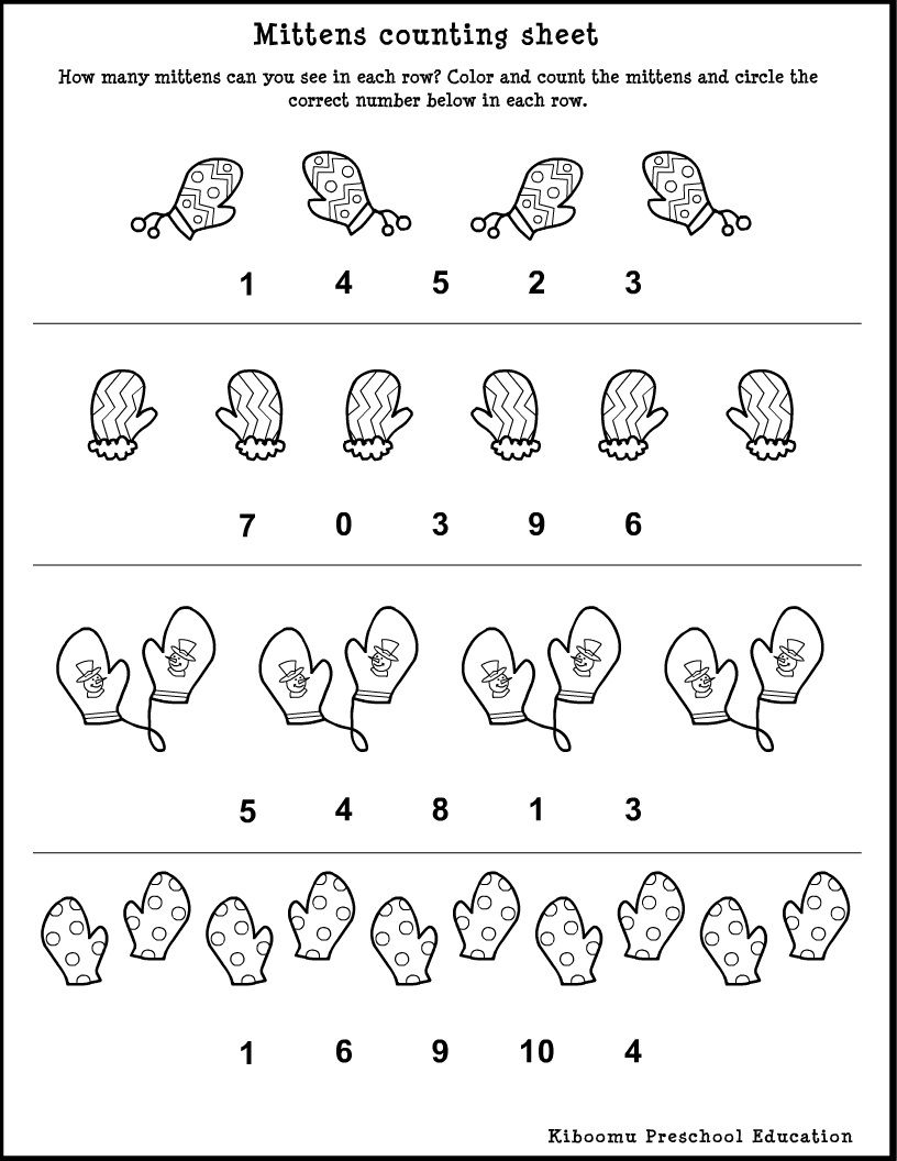 Winter Song And <B>Preschool</b> <B>Math</b> <B>Worksheet</b | Free Printable Preschool Math Worksheets