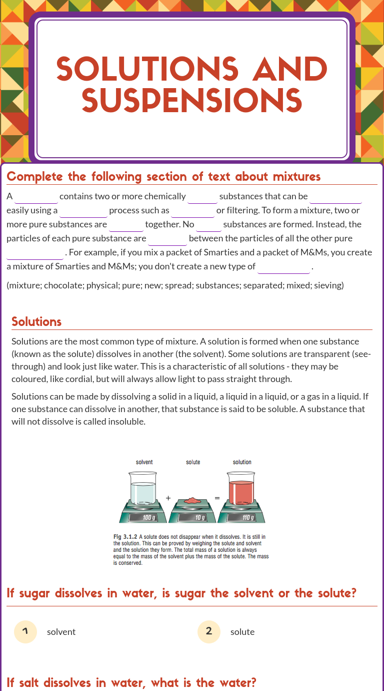 """Wizer Blended Worksheet """"solutions And Suspensions"""". 