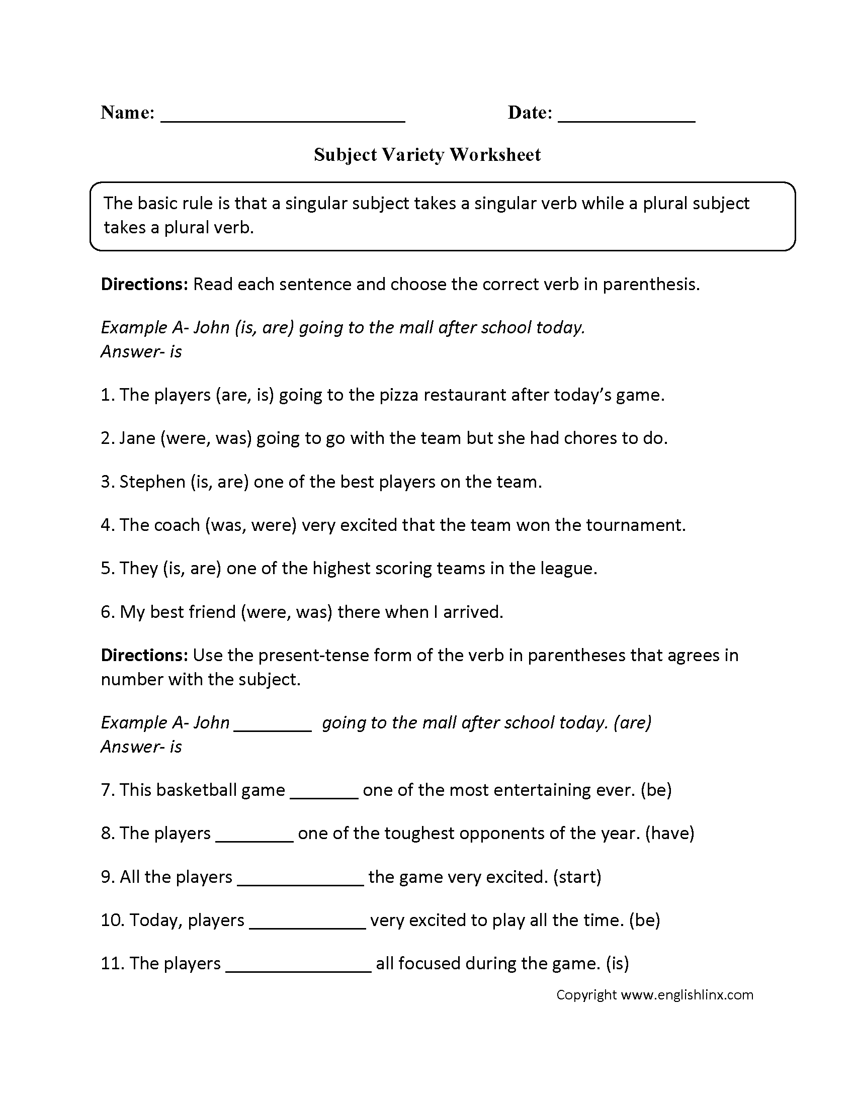 Word Usage Worksheets | Subject Verb Agreement Worksheets | Free Printable Subject Verb Agreement Worksheets