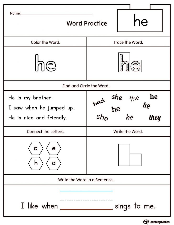 Free Printable Worksheets For Kindergarten Pdf
