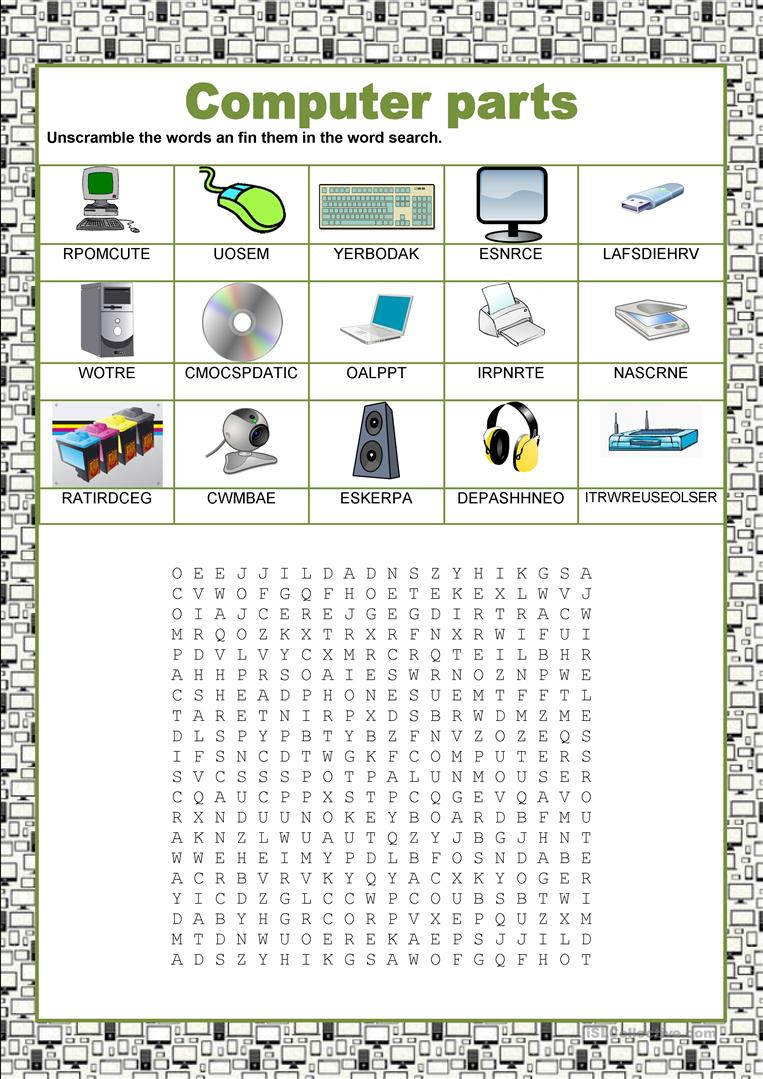 Wordsearch - Computer Parts Worksheet - Free Esl Printable | Parts Of A Computer Worksheet Printable