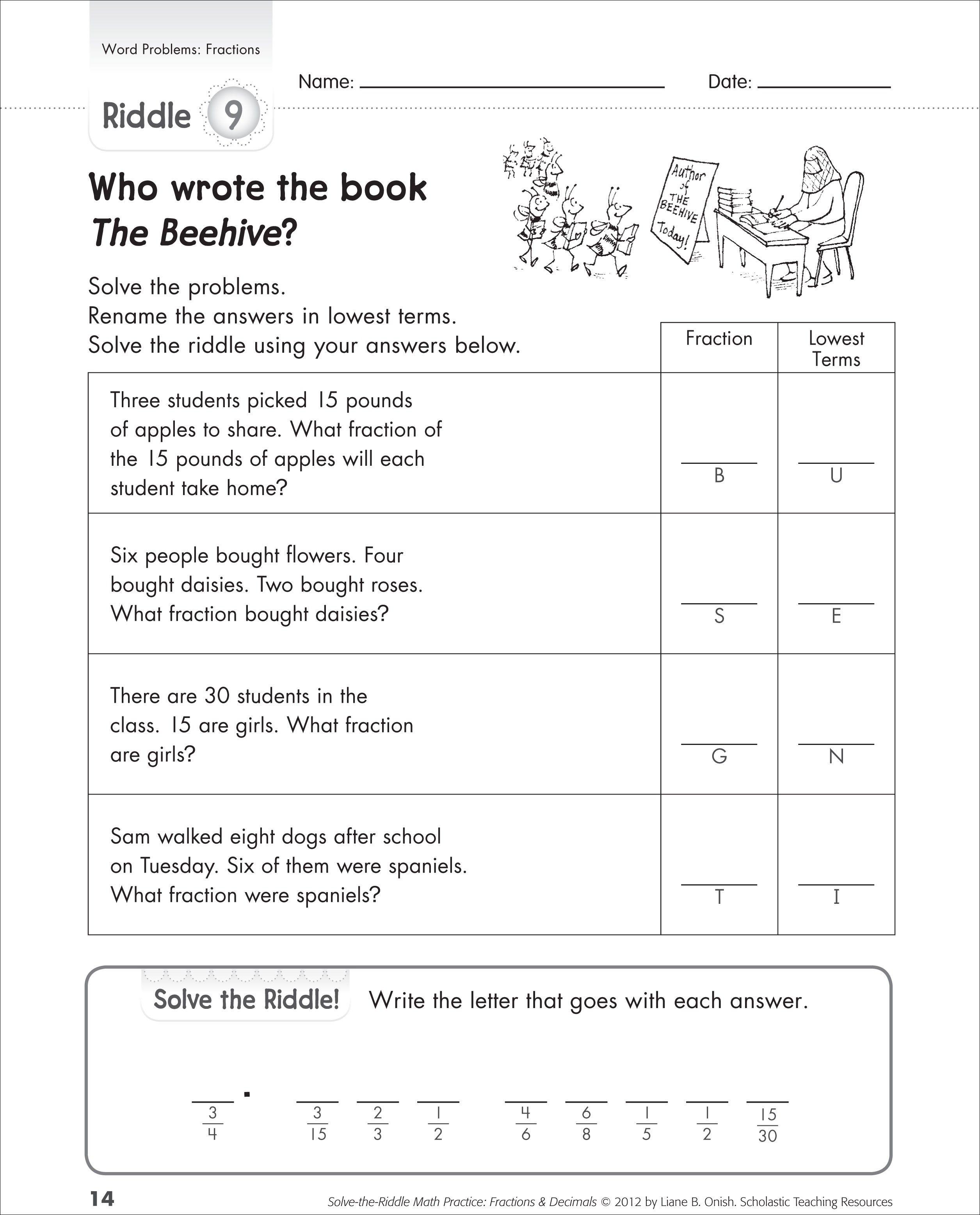 Free Printable Fraction Word Problem Worksheets ...