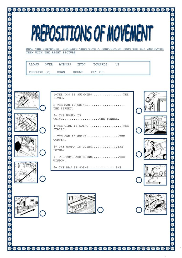 Worksheet : Free Esl Prepositions Of Movement Worksheets Preposition | Free Printable Preposition Worksheets For Kindergarten