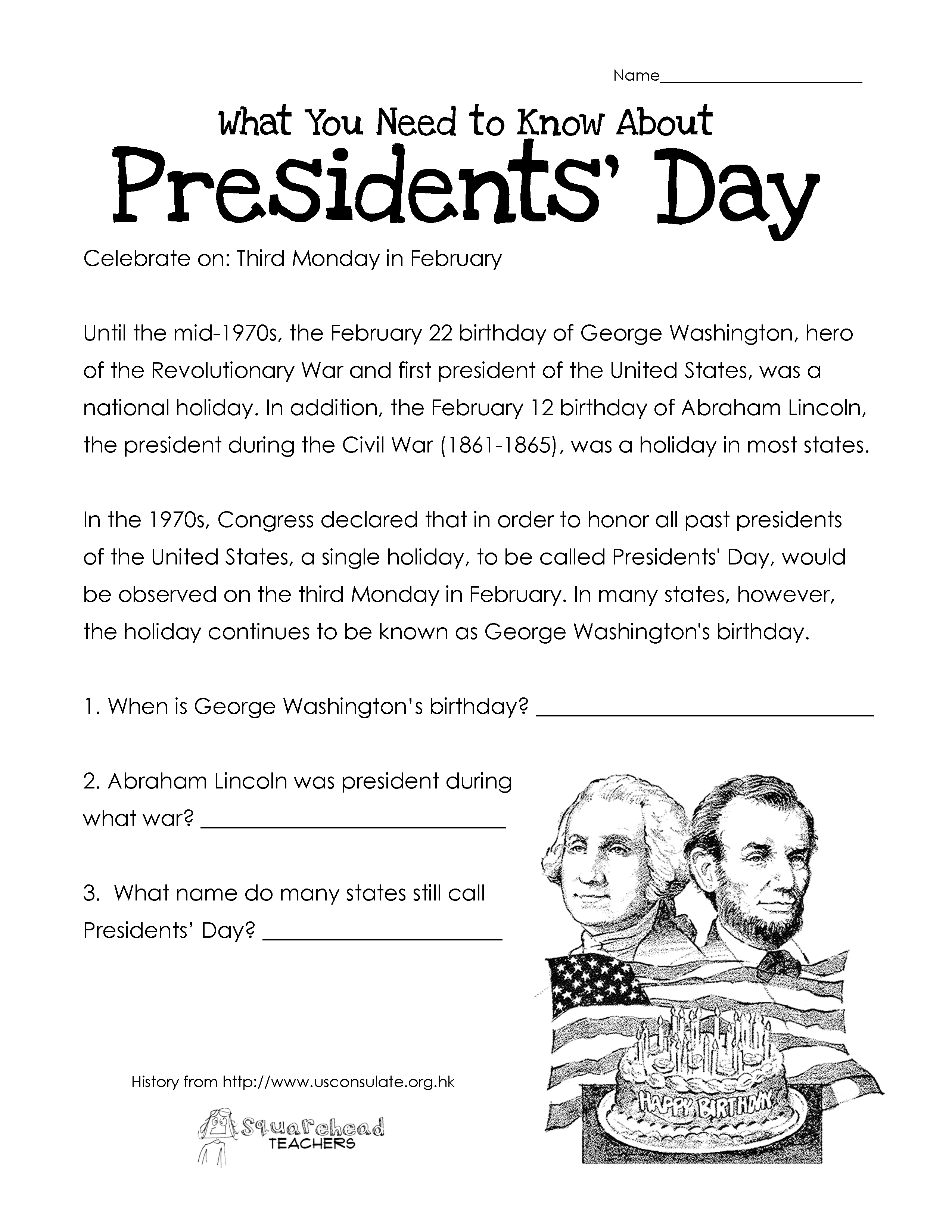 Worksheet : Presidents Day Free Updated Squarehead Teachers Printabl | Free Printable Presidents Day Worksheets
