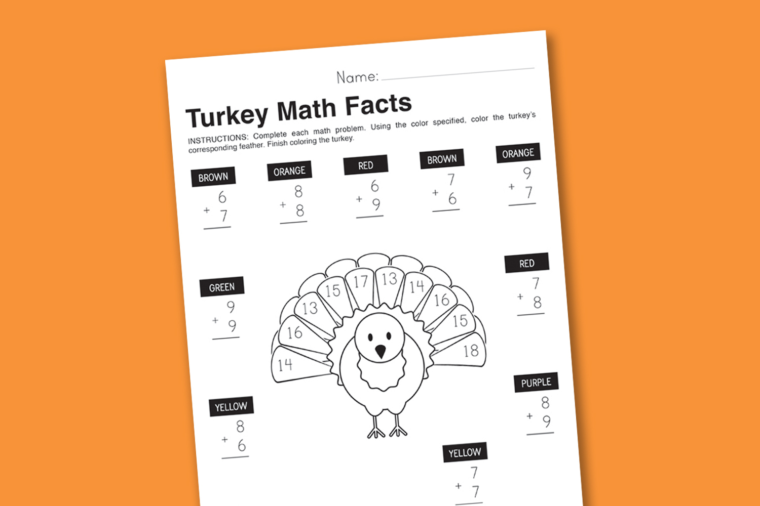 Worksheet Wednesday: Turkey Math Facts - Paging Supermom | Printable Thanksgiving Math Worksheets