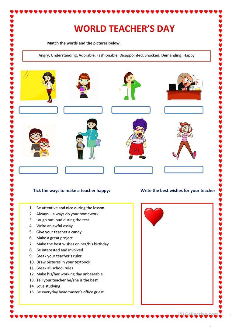 World Teacher's Day Worksheet - Free Esl Printable Worksheets Made | Teacher Printable Worksheets