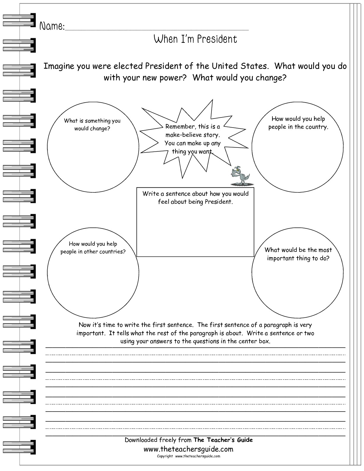 Writing Prompt Worksheets From The Teacher's Guide | If I Were President Printable Worksheet